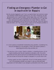 Finding an Emergency Plumber to Get in touch with for Repairs.pdf